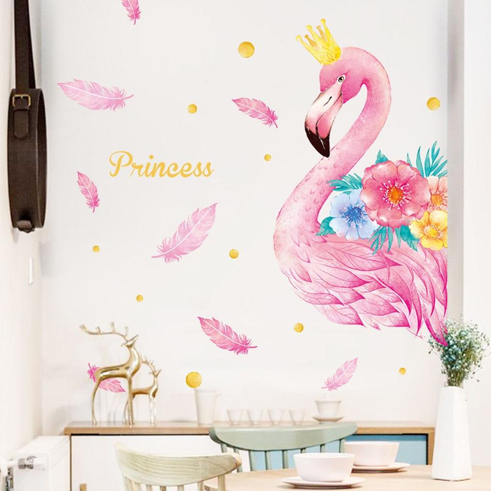 Pegatinas de pared rosadas con flamencos y unicornios para niños, habitaciones, sala, dormitorio, decoración, pegatinas de animales de dibujos animados para pared, adhesivos de pared para habitación, decoración