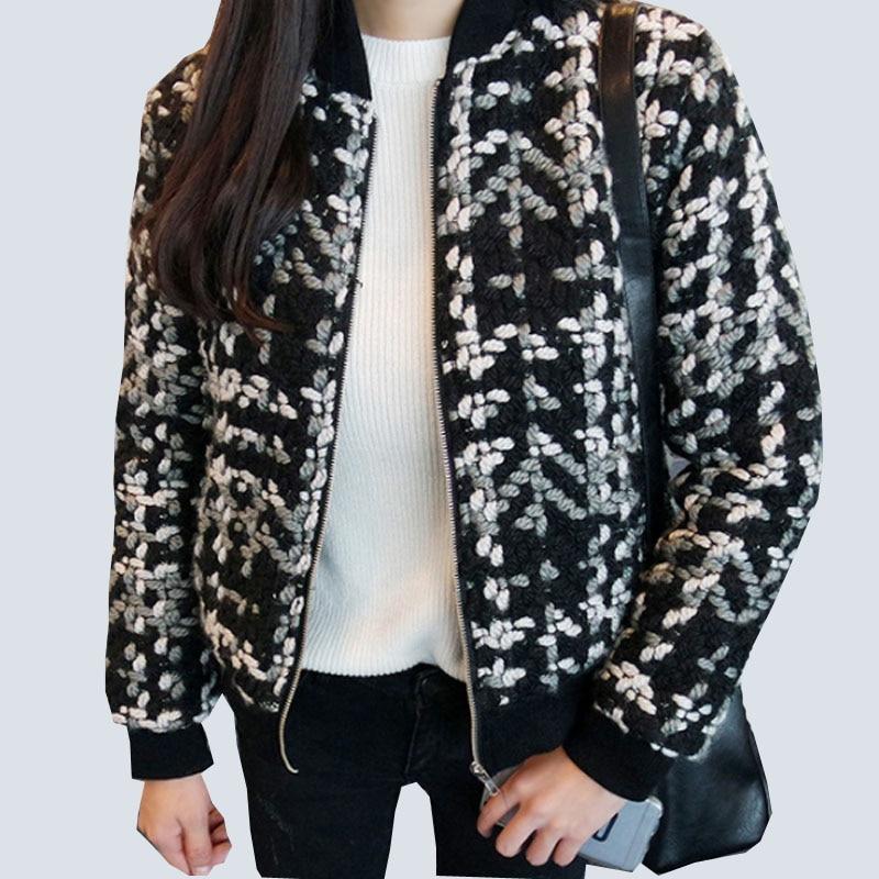 Blend Wool coat female Spring Short Bomber Jacket Basic Women Elegant Plaid Coats Feminina Spring Winter Casual Thick Outerwear