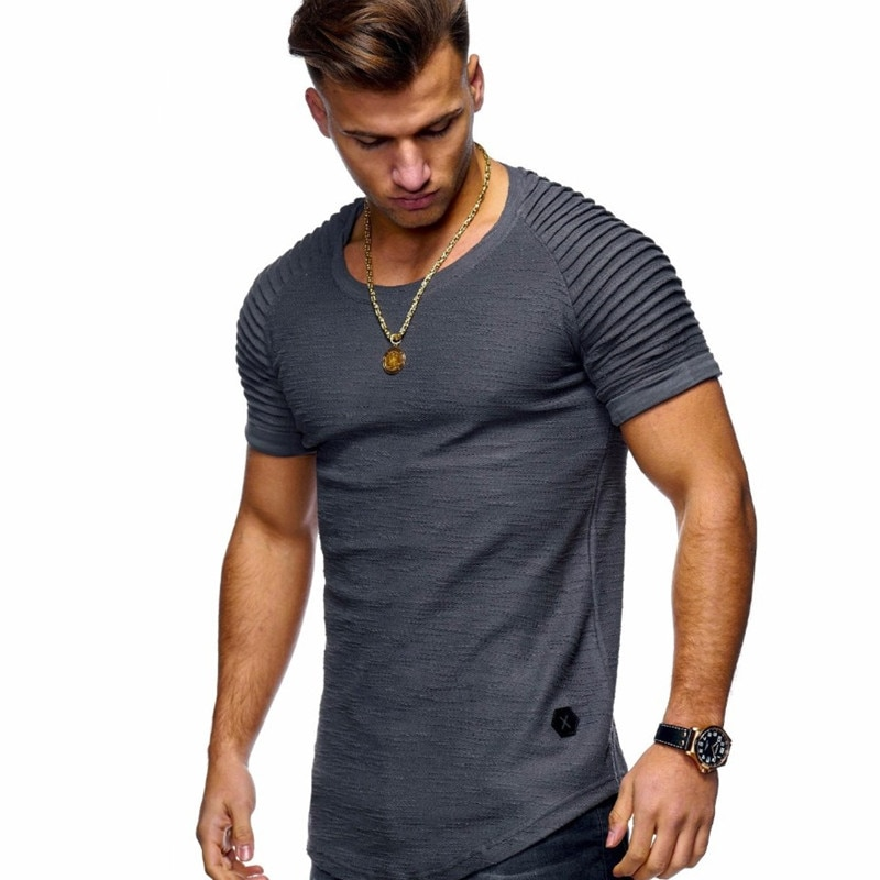 2020 new short-sleeved solid color mens t-shirt pleated shoulder jacquard stripes Slim T-shirt casual sports wild