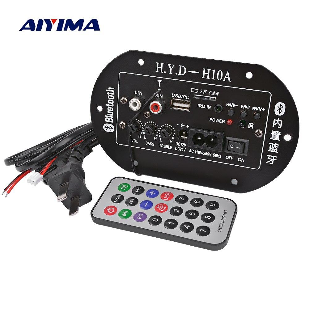 AIYIMA amplificadores tarjeta de audio Amplificador placa amplificadora para subwoofer construido en Bluetooth FM Radio 220V 12V 24V IC Digital del tubo
