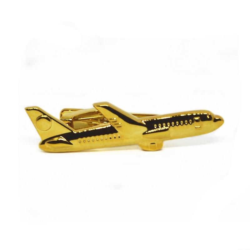 Hombres 2 color dorado y plateado forma de avión corbata Clip Pilot alta calidad personalidad especial plano Stick pin Pins