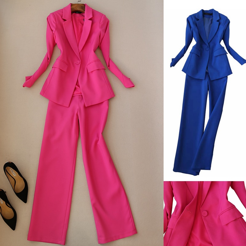 Suit women new fashion one button suit pants two-piece fashion slim long-sleeved small suit straight wide-leg pants suit women pants pants summer seven sleeved suit suit male korean version of the slim fashion hair stylist trend leisure suit two piece