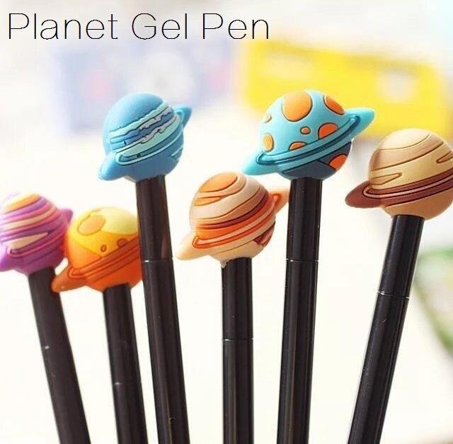 3 unids/lote Kawaii Vintage 3D Cool Planet diseño gel pluma 0,38mm negro tinta firmar bolígrafo divertido regalo Oficina escuela suministros