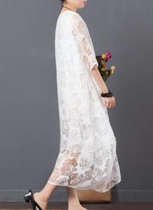 Bohemian Vintage Retro Ethnic Mori Girl Loose White Lace Embroidery Crochet Vestidos Robe Femme Beach Dress Women Summer Dress