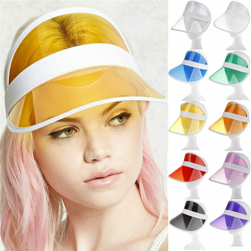 Verão pvc transparente chapéu de sol viseira festa casual chapéu claro plástico adulto protetor solar boné viseiras