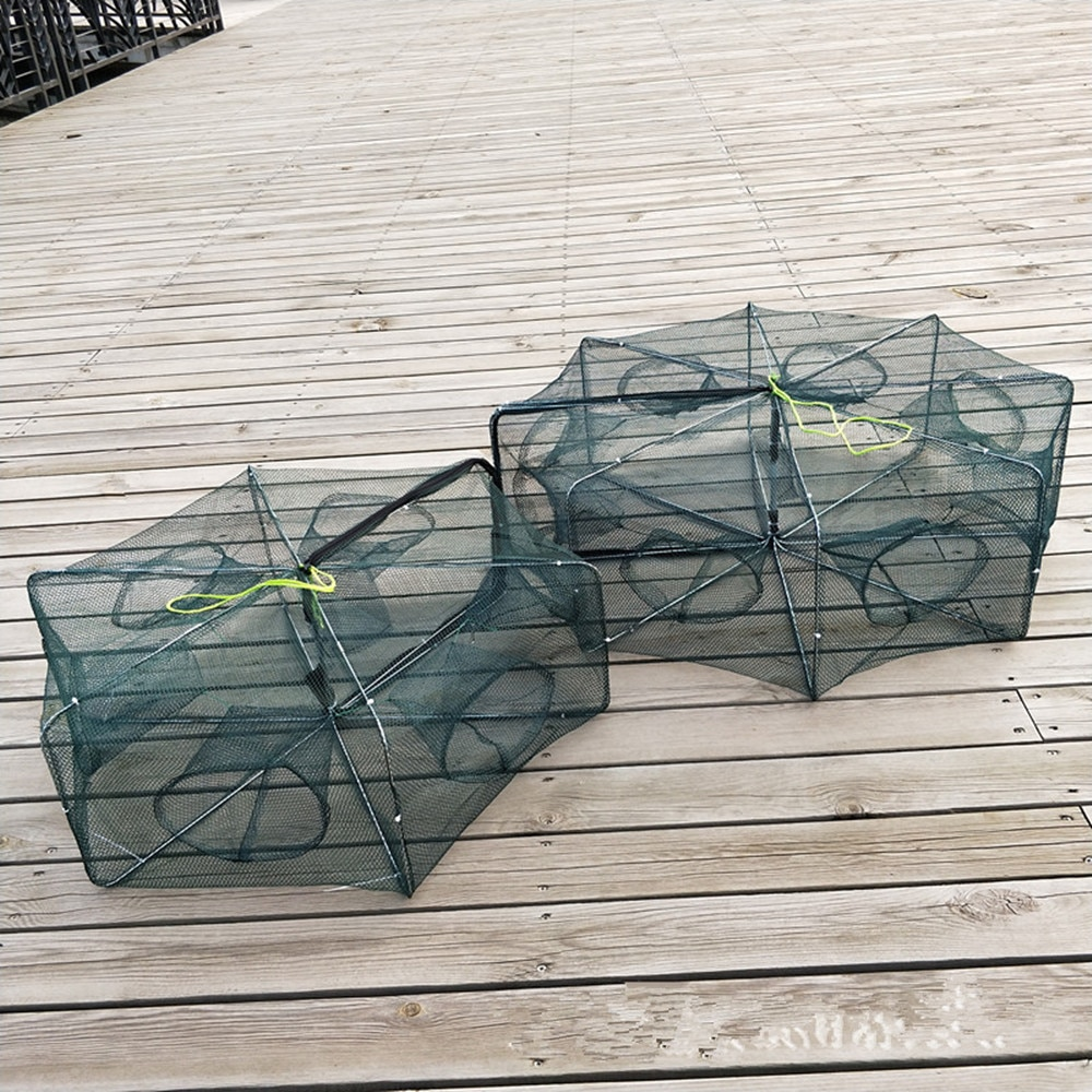 FishingLife 6/8/12/16Holes Folded Hexagon Fishing Shrimp Automatic Trap Fishing Net Fish Shrimp Minnow Crab Baits Cast Mesh Trap