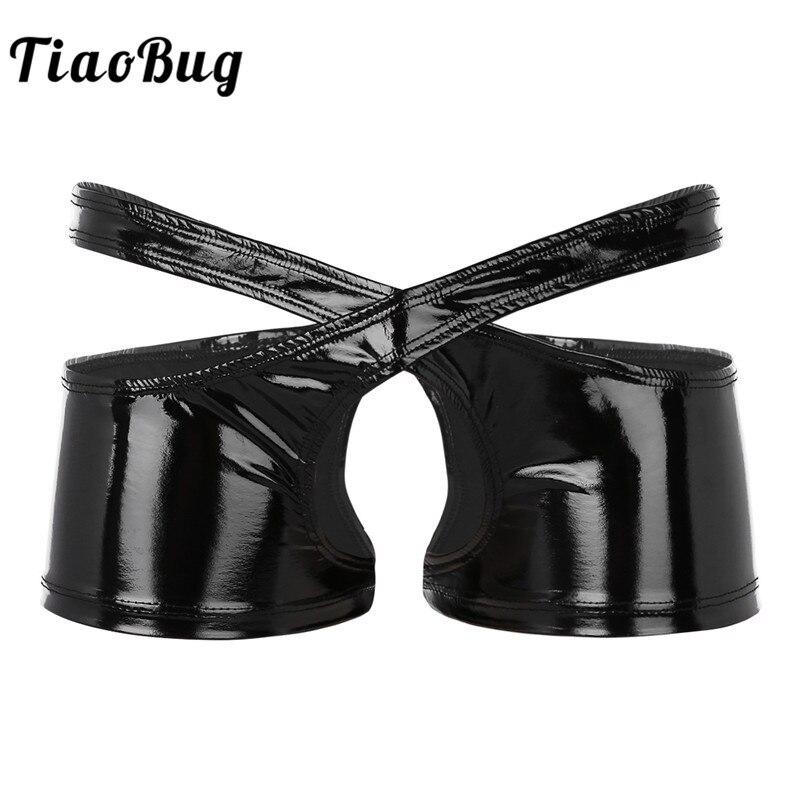 TiaoBug hombres Sexy negro Wetlook Faux cuero tiro bajo entrepierna abierta dos mitades simétricas Boxer ropa interior masculina bragas conjunto