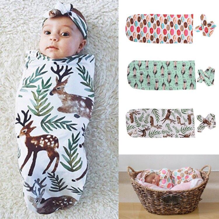 Bebê recém-nascido envoltório saco de dormir bandana swaddling cobertor swaddle toalha bunting saco musselina envoltório 2 pçs conjunto animal impressão