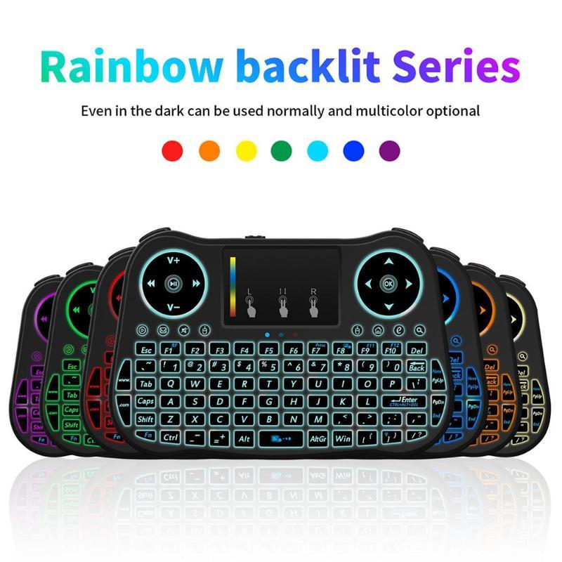 2,4 GHz 77 teclas Mini teclado inalámbrico Control remoto de ratón Touchp con retroiluminación LED de 3 colores y receptor/Cable USB