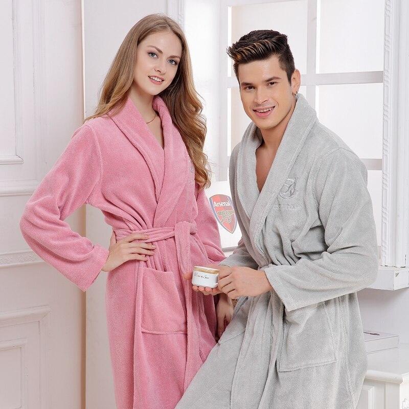رداء حمام قطني للرجال والنساء ، ثوب نوم طويل وناعم ، ملابس نوم من الصوف ، مثير ، أبيض ، أحمر ، للعشاق
