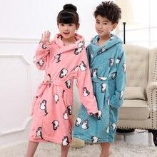 Cartoon Robe Children Flannel Child Bathrobe Kids Boys Girls Robes Lovely Animal Hooded Bath Robes Long Sleeve Baby Boy Bathrobe