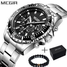 Megir Men Watch Sport Stainless Steel Analog Quartz Wristwatch Multifunction Chronograph Relojes Masculino Hombre Clock man 2018