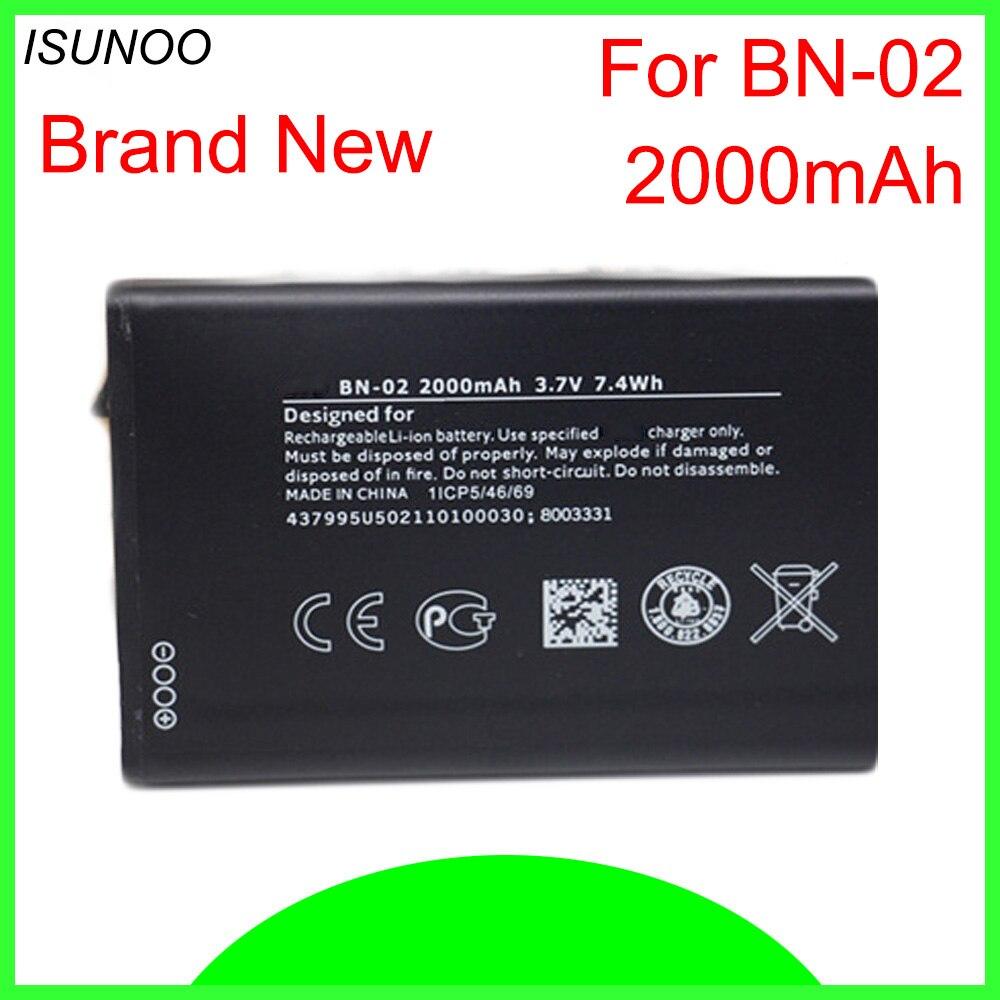 ISUNOO-Batería de repuesto BN02 BN-02, 5 unidades/lote, 2000mAh, para Nokia XL/XL 4G...