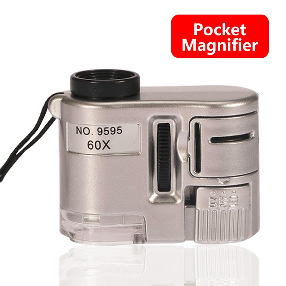 Lentille 60X poche Loupe Microscope avec lumière LED bijoux bijoutier Loupe monnaie Dectector