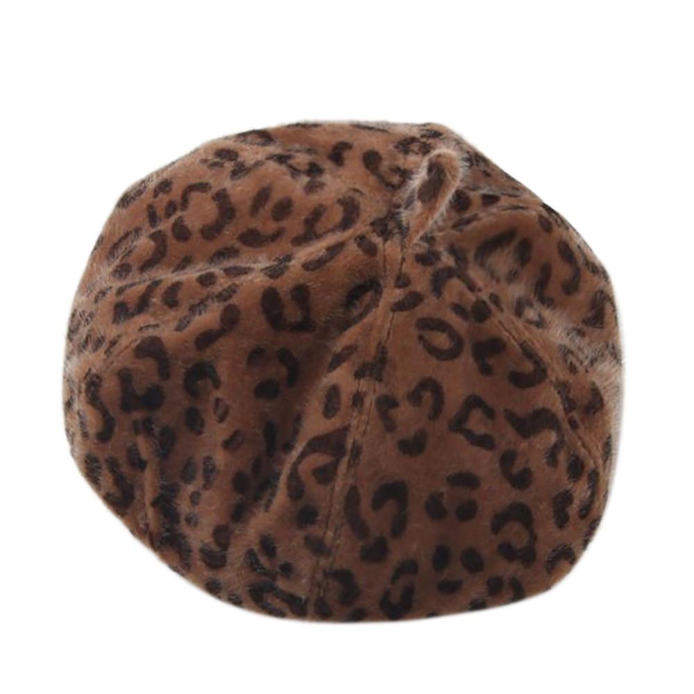 Womens Winter Warm Pure Color Leopard Beret French Artist Beanie Hat Cap Hat casquette homme 2020  Casual Street