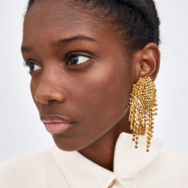 JURAN 2019, Pendientes colgantes de lujo con diamantes de imitación para mujer, joyería de boda ZA, pendientes grandes de cristal con borla larga