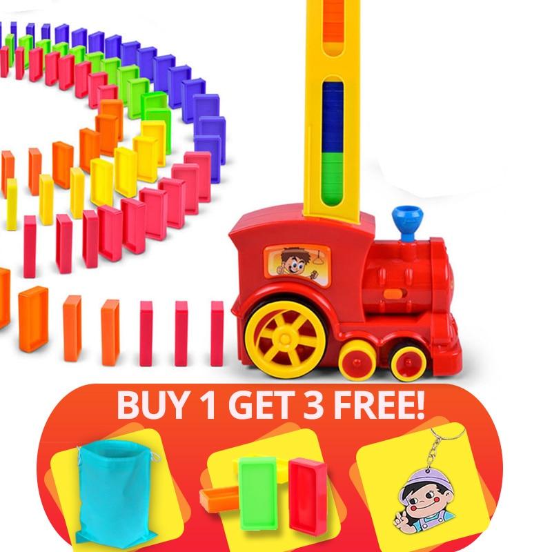 Hot Sale 60pcs Domino Blocks Train Kit Motorized Set Up the Domino with Loading Cartridge toys birthday gift for children kid