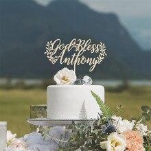 Personalizado Baby Shower bautismo torta Topper nombre personalizado Dios Bless Cake Topper bautizo decoraciones