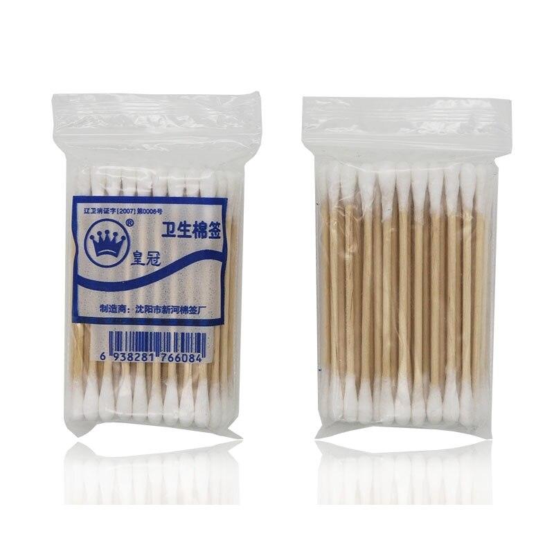 Natrual 50 pçs cabeça dupla cotonete de algodão feminino maquiagem gomos de algodão ponta para médica varas de madeira nariz orelhas limpeza ferramentas de cuidados de saúde