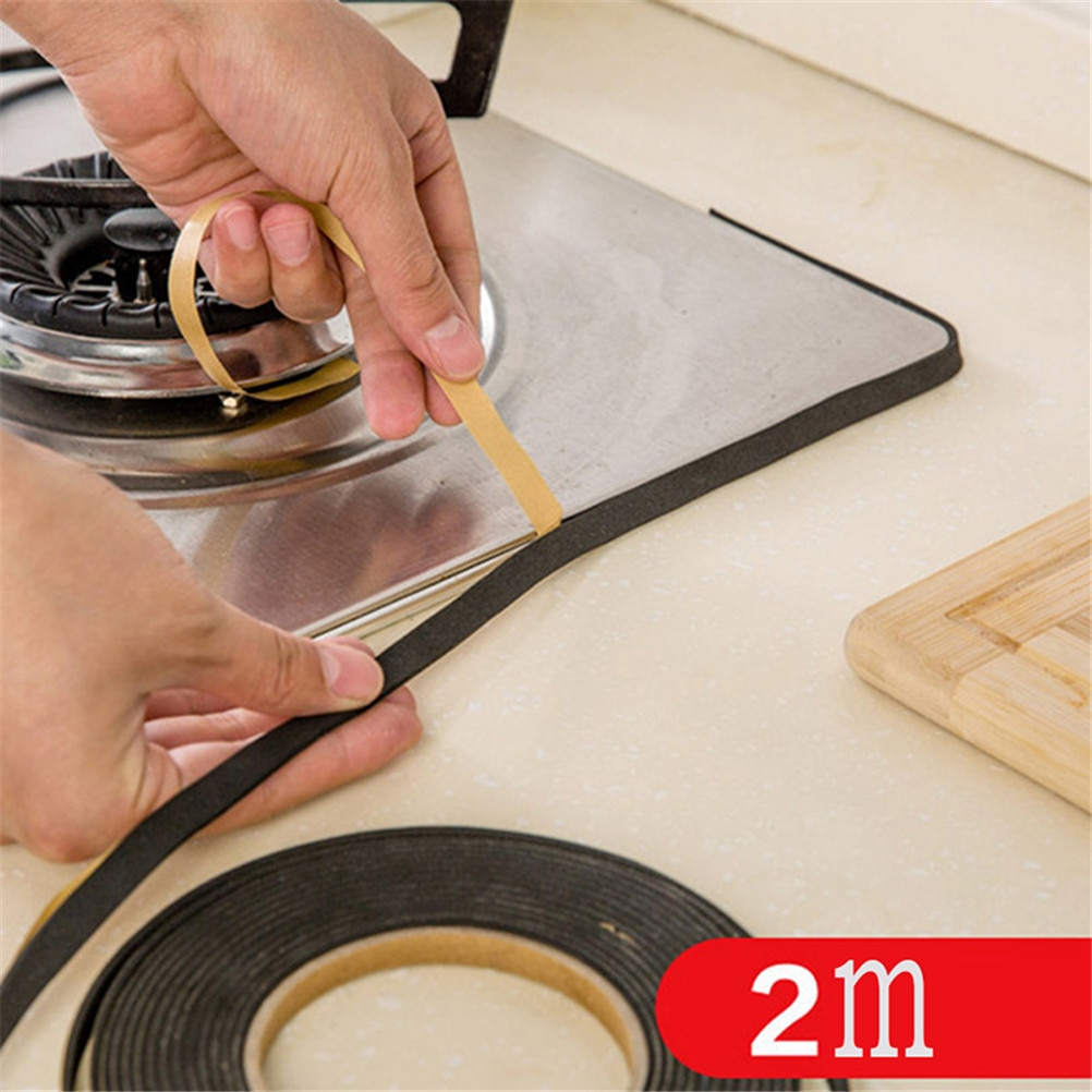 2 piezas cocina Gas estufa hueco sellado cinta adhesiva Anti Flouring polvo a prueba de agua fregadero estufa grieta tapón sellado