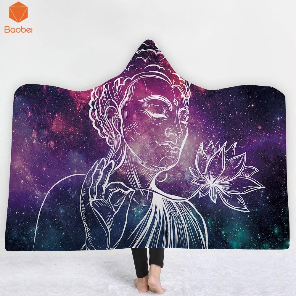 3D impreso estatua de Buda Thicking Manta con capucha para adultos gótico Sherpa Fleece Wearable Throw Blanket ropa de cama de microfibra