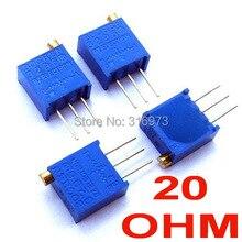 (100 pcs/lot) 20 ohm 3296 Multiturn Trimming Potentiometer.