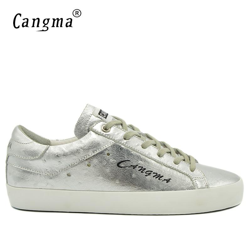 CANGMA marca de moda Zapatillas Hombre charol de plata de cuero genuino transpirable para Hombre Zapatos de cordones para planos Casuales