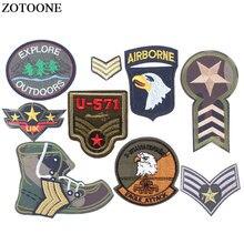 ZOTOONE DIY parches militares bordados de hierro para ropa camiseta Morale stripesapplique Motif Appliques parches con insignias para prendas E