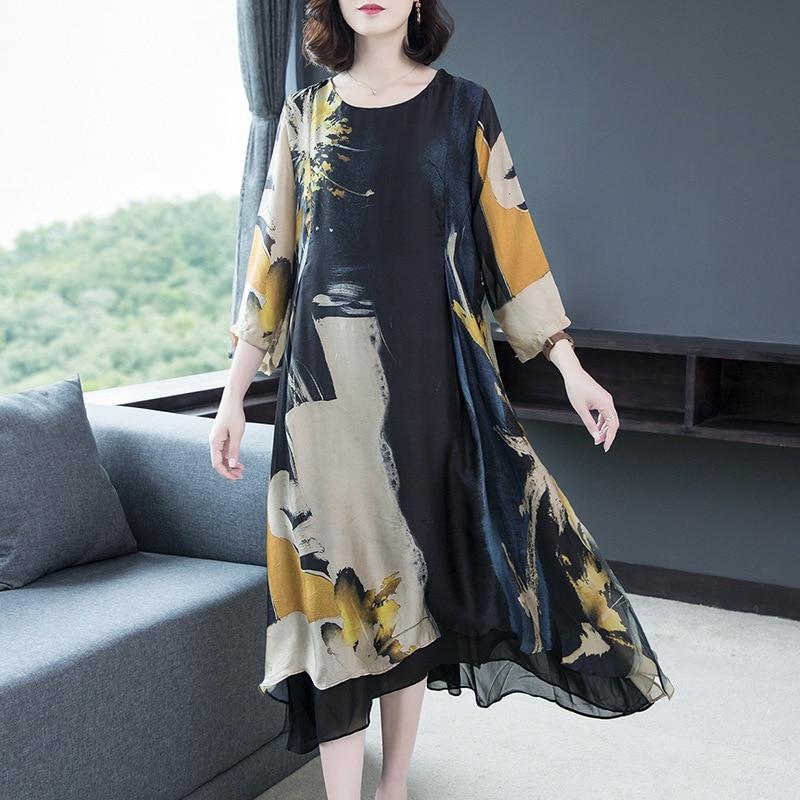 Vestido de seda mujer novedad de verano temperamento suelto estampado entallado vestido largo talla grande M-4XL alta calidad moda vestidos elegantes