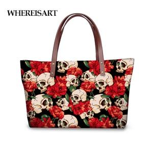 WHEREISART Casual Women Handbags Red 3D Skull Woman Crossbody Bag Tote Bolsas Feminina Ladies Travel Bolsa Messenger Sac A Main
