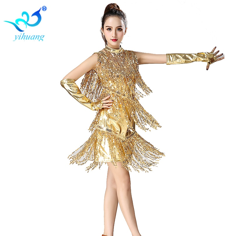 1920s Dress Flapper Costume Gatsby Outfits Charleston Party Sequin Latin Dance Performance with Necklace Gloves