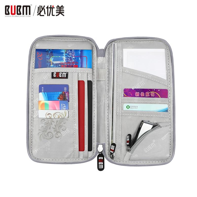 Cartera de pasaporte de viaje multiusos BUBM, soporte organizador de documentos, bolso portátil para tarjeta de boletos