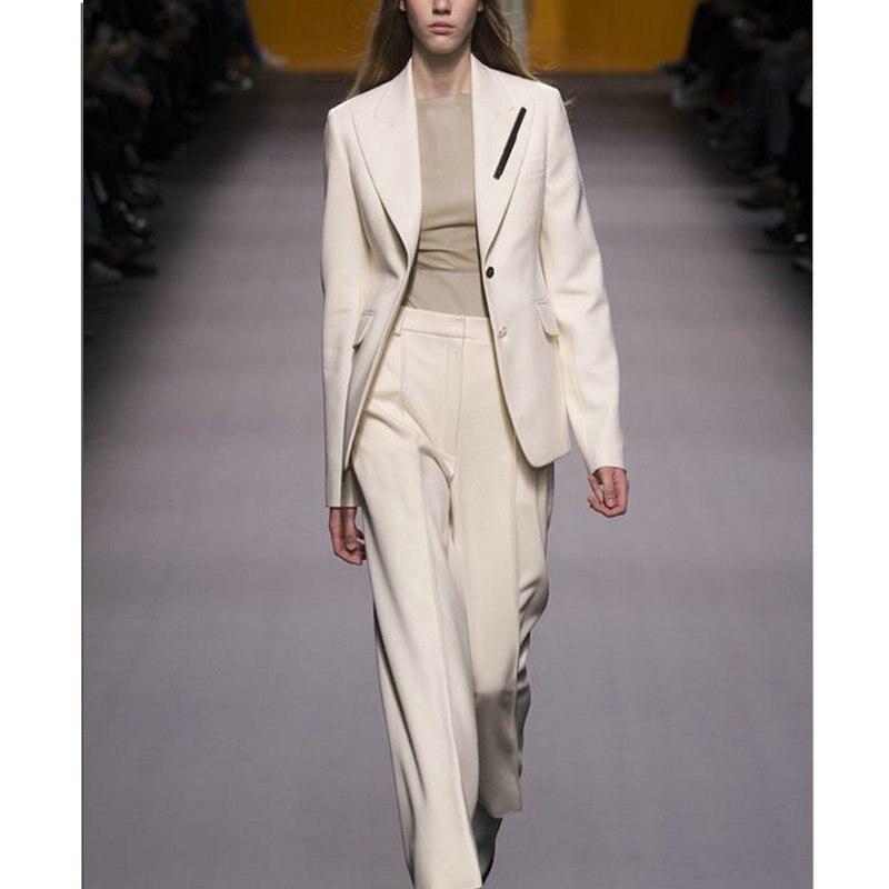 Chaqueta + Pantalones trajes de negocios de mujer hierba blanco doble pecho Oficina uniforme de noche de boda traje de pantalón Formal de las señoras