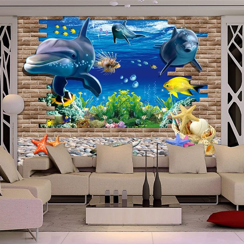 HD mundo submarino delfines pared rota foto Papel tapiz Sala TV sofá telón De fondo murales decoración del hogar Papel De pared Infantil