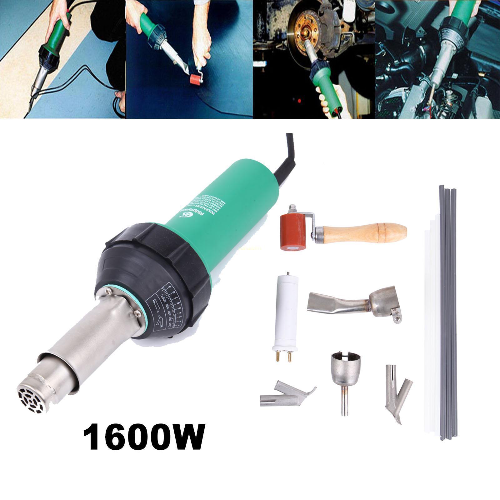Yonntech 1500 واط 1600 واط الهواء الساخن الشعلة البلاستيك لحام بندقية لحام مسدس مجموعة أدوات إصلاح البلاستيك مع فوهات الأسطوانة