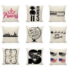 Персонализированные черные буквы, наволочки, флаг, принцесса, корона, декоративные, я люблю тебя, больше, чем мир, наволочки