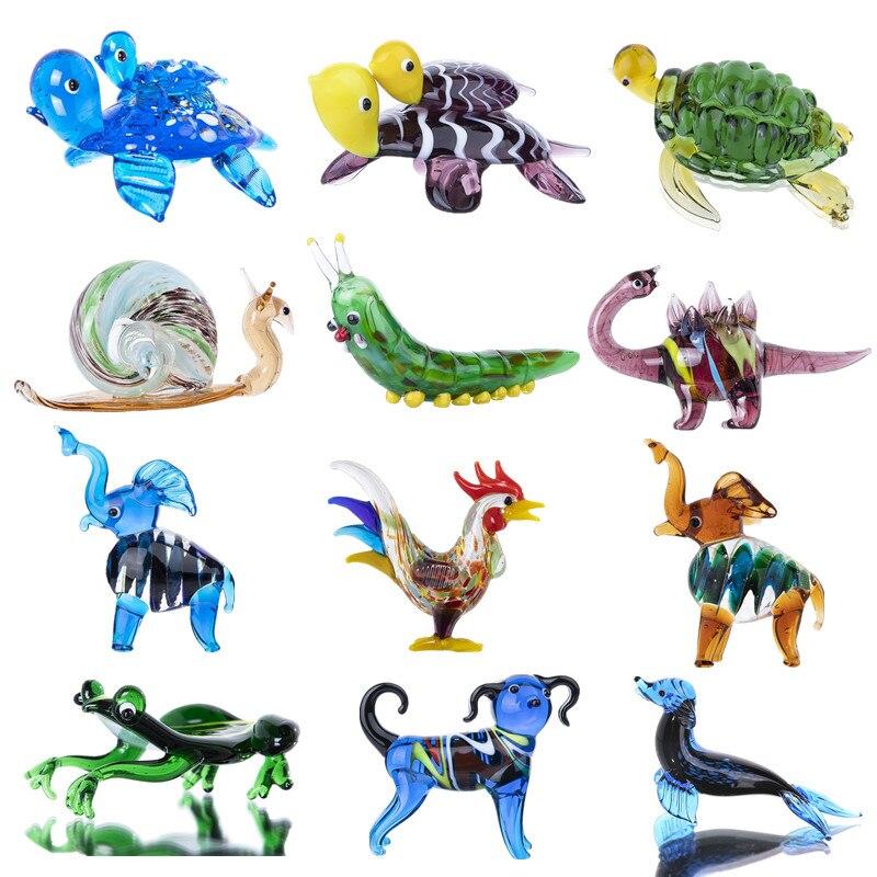 H & d 12 estilos artesanal mini escultura animal mão arte de vidro soprado estatueta de animais collectible dollhouse ornamentos presente para crianças