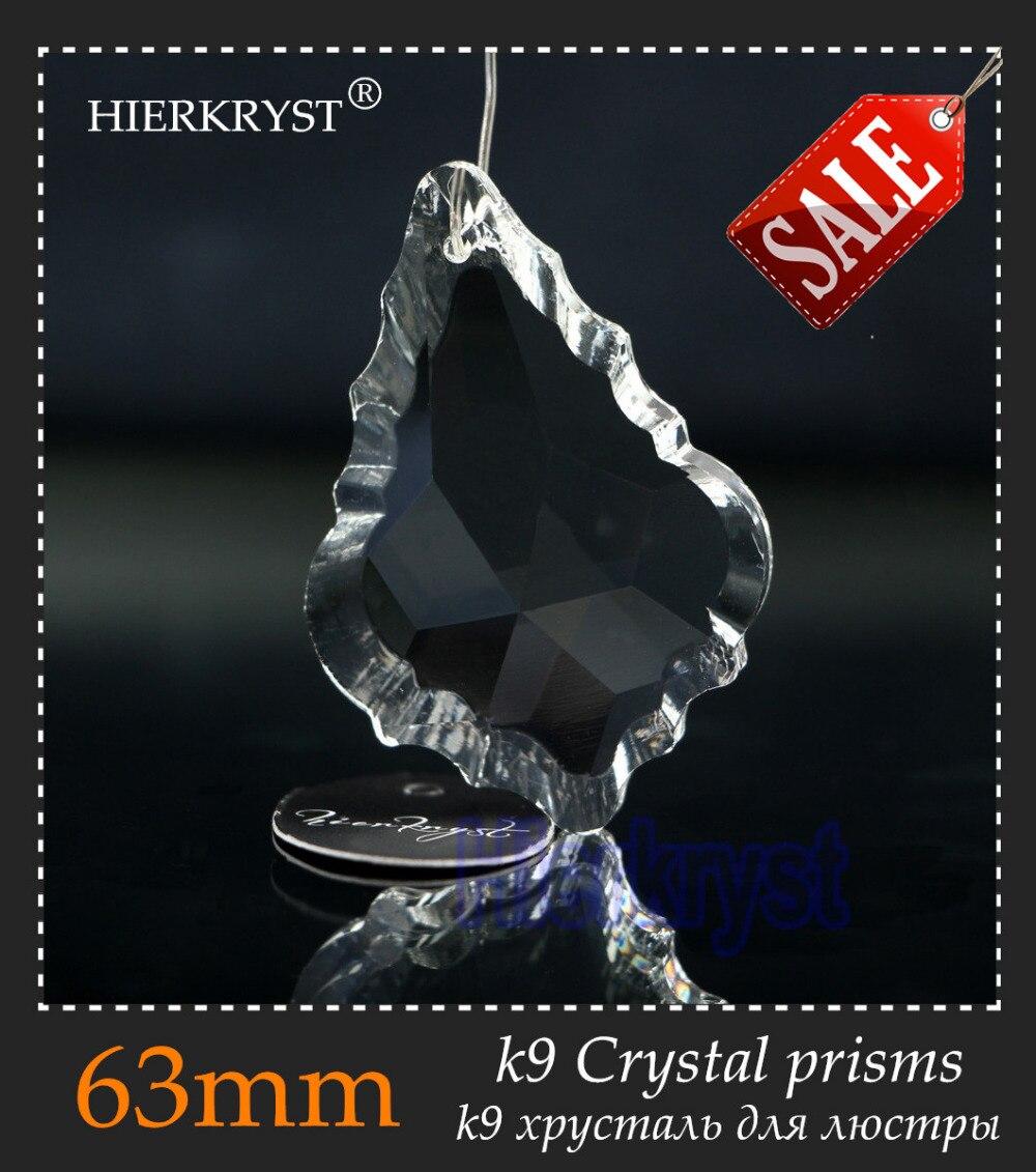 "HIERKYST 20 pcs K9 Glass Crystal Prisms Pendants Chandeliers Parts Lustres Rainbow Lamp Lighting Hanging Drop 63mm 2.48"" 2251-2C"