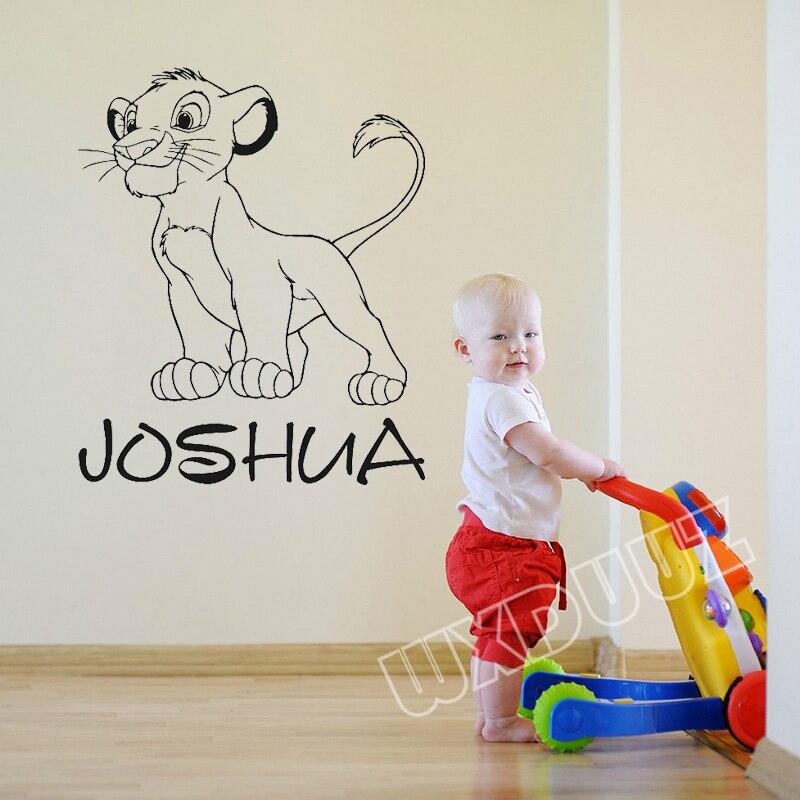 Lion king hakuna matata art deco custom name cartoon vinyl sticker simba nursery Wall Sticker for children's room mural #A131