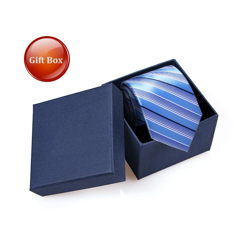 Gentlemen Neckties Polyester Silk Ties Blue Striped Tie Men's Striped Ties 8 cm Neckties for Men Formal Business Tie Gfit Box