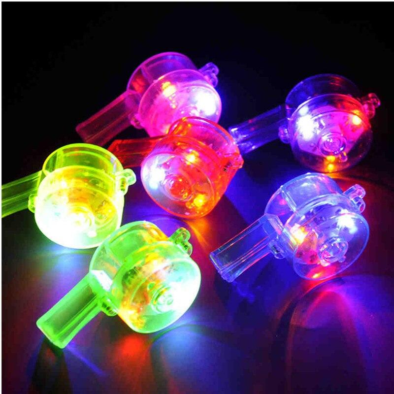 200 unids/lote gran oferta 6*3cm colorido LED silbido intermitente Bar y silbato con luz up fiesta divertida favores suministros de decoración
