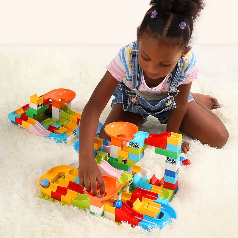 SCCJGL 52Pcs Marble Race Run Maze Balls Track Building Blocks Funnel Slide Big Size Building Brick Compatible Legoed Duploed