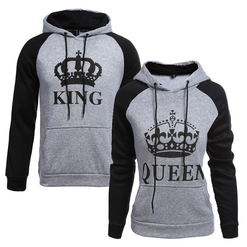 2018 KING Queen Crown Print Unisex Men Women Autumn Hoodies Slim Sweatshirt for Couple Lovers Winter Patchwork Hooded Pullovers