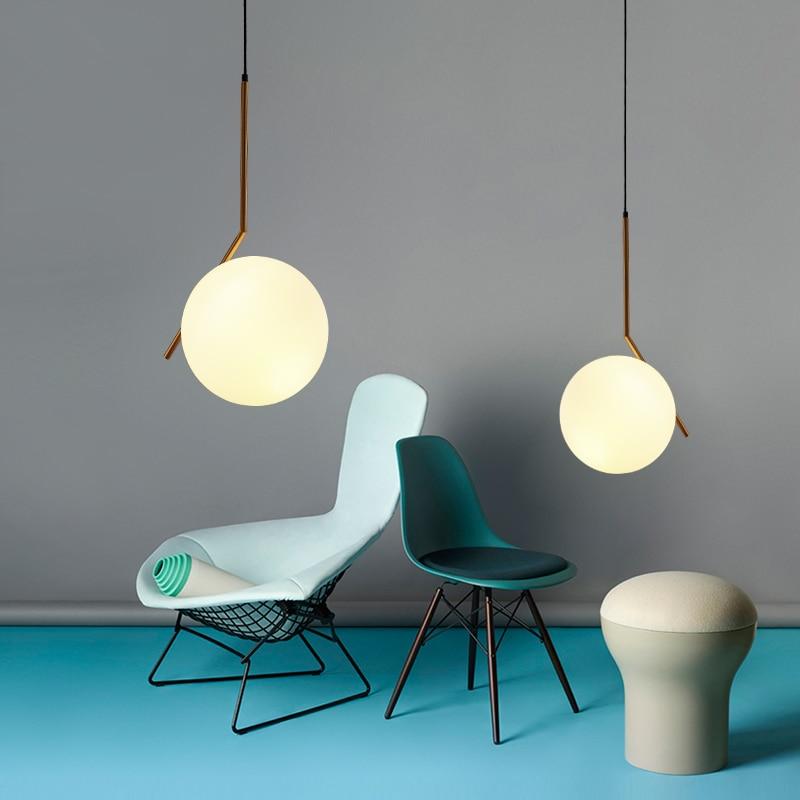 Modern minimalist restaurant chandelier Nordic glass ball single head bedroom Pendant lamp bar Lights hanging lights
