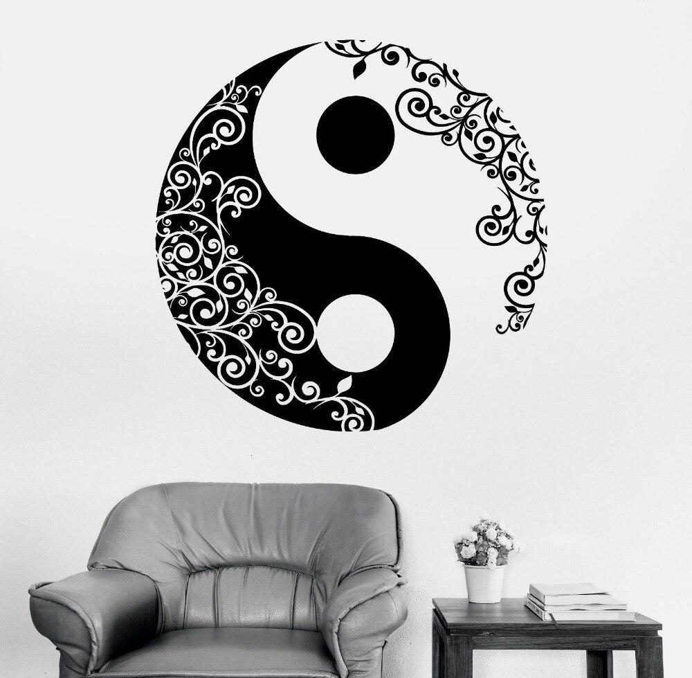 Wandaufkleber Buddha Yin Yang Floral Yoga Meditation Vinyl Aufkleber wohnkultur