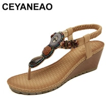 CEYANEAO  Woman Wedges Sandals For Women Bohemia Beach Sandals T Strap Summer Sandal Plus Size  Black Beige Sandalias BYT531
