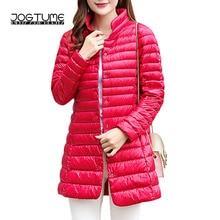 JOGTUME Women Down Coat 2017 Autumn Winter Stand Light White Duck Down Jackets Stand Female Thin Slim Parka Plus Size 3xl 4xl