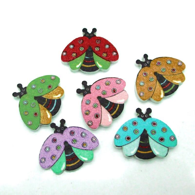 50 botones de madera mezclados de abejas para ropa agujas de tejer manualidades costura Scrapbooking DIY tela botones de aguja