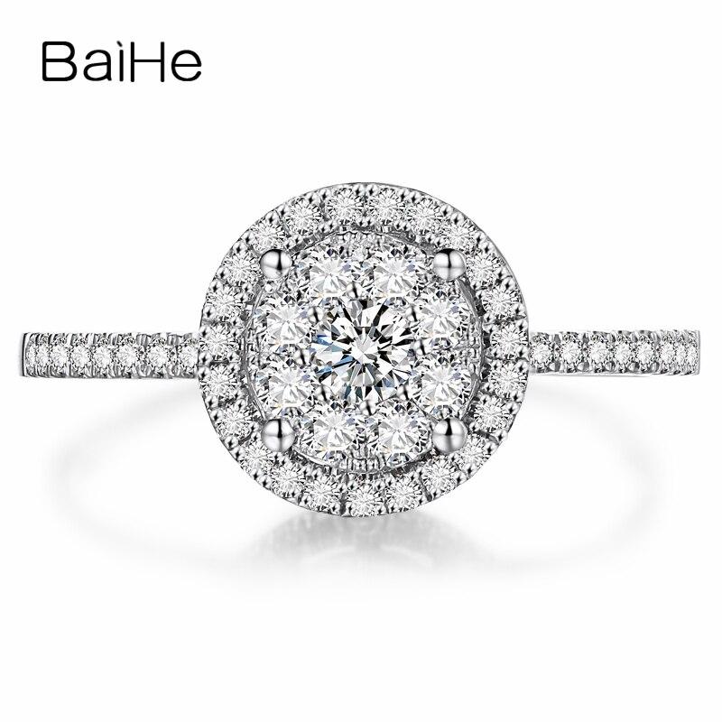 Женское Обручальное Кольцо BAIHE, однотонное кольцо из 18-каратного белого золота (AU750) SI/H, 100% натуральные бриллианты, 0,45ct