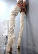Night club dames python cuir 16 cm de haut enfer sur le genou bottes longues multi-couleur plate-forme talon aiguille cuisse chaussures hautes